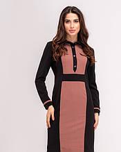 Чорно-коричневе облягаючу сукню з планкою