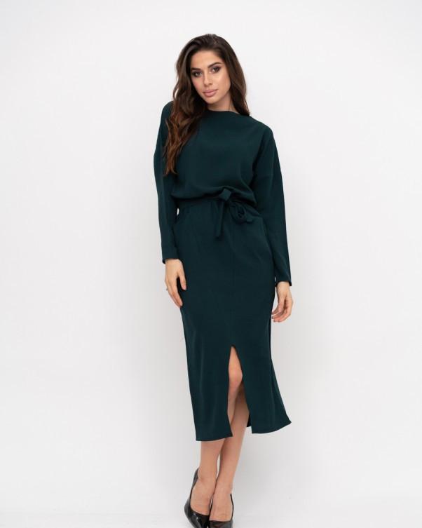 Зелену сукню з кишенями і геометричним кроєм S
