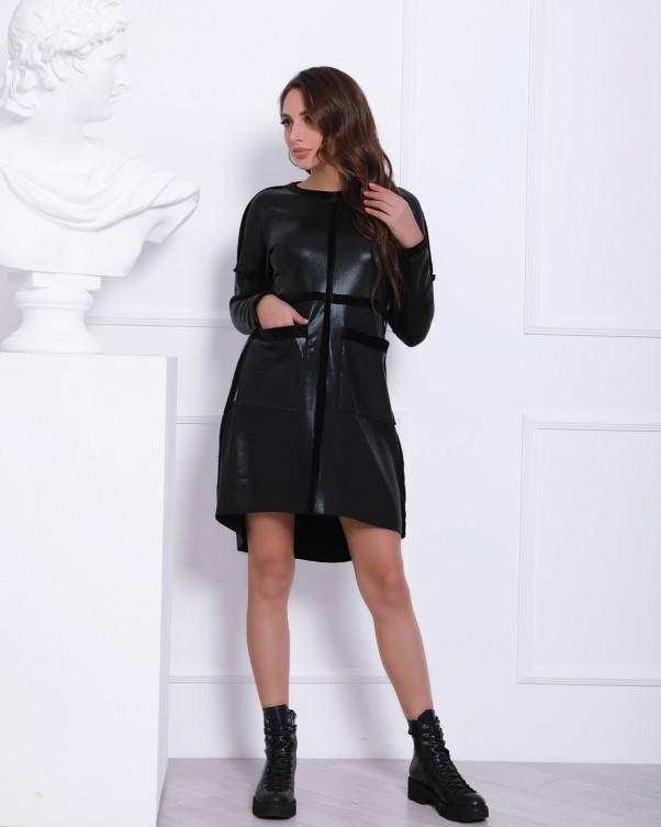 Тепле чорне плаття з напиленням (S M L XL)