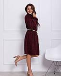 Бордове вельветове сукню з рюшами S, фото 2