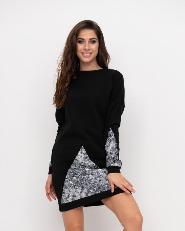 Тепле чорне плаття з двосторонніми паєтками (S M L)