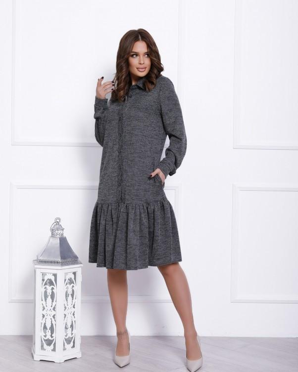 Сіра сукня-сорочка з воланом (S M L XL)