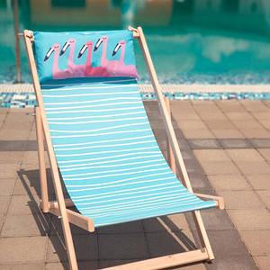 Шезлонг складаний для пляжу і басейну Фламінго/Шезлонг розкладний дерев'яний/Літній пляжний лежак і садовий