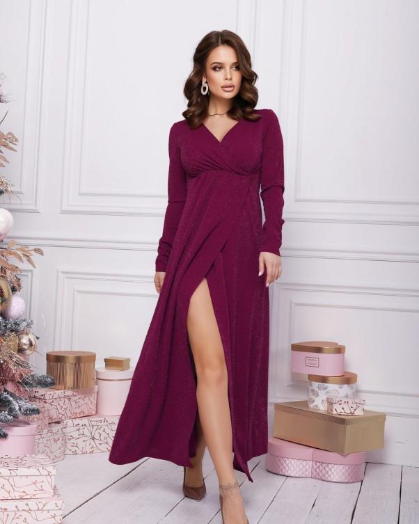 Бордовое вечернее люрексовое платье с запахом