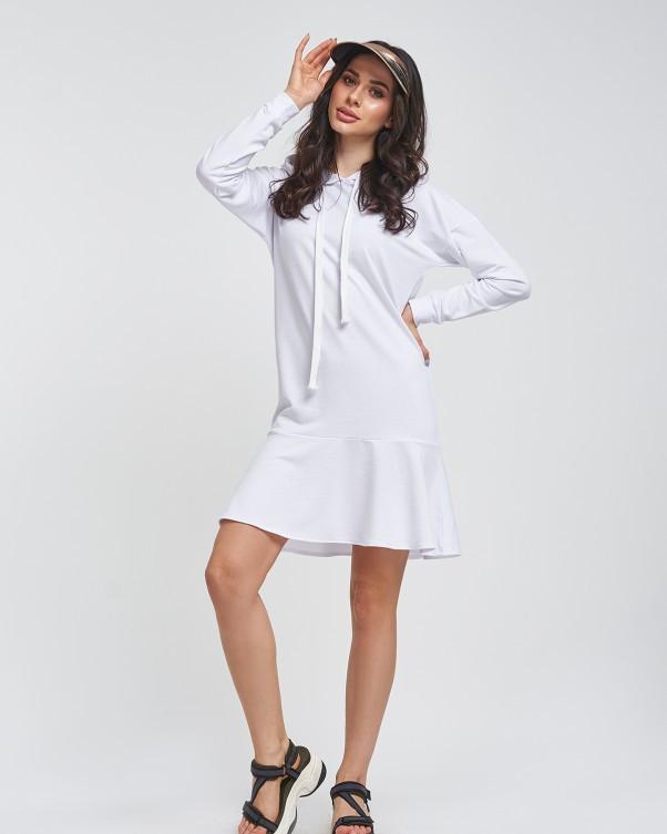 Біле спортивне плаття з двухнитного трикотажу до колін з довгими рукавами і капюшоном L