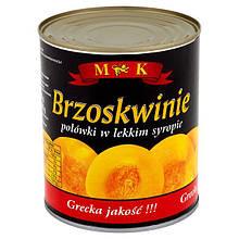 Персики консервированные в сиропе половинками в ж/б M&K (Польша), 820г