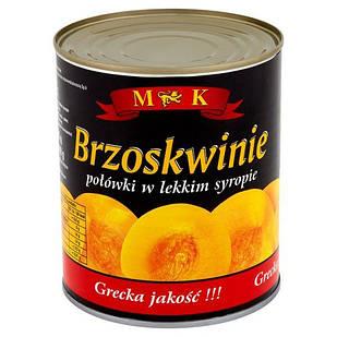 Персики консервовані в сиропі половинками в ж/б M&K (Польща), 820 г