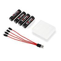 Аккумуляторы Soshine Li-ion AA/R6 1.5V  2400mAh cо встроенным micro USB портом для зарядки + USB кабель