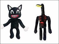 Мягкие игрушки Мультяшный кот и Лампоголовый 2шт