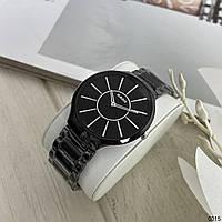 Женские наручные часы в стиле Радо True Thinline с керамическим браслетом Черные с серебром