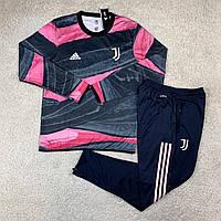 Тренировочный костюм Ювентус/Juventus ( Италия, Серия А ), черно-розовый, сезон 2020-2021