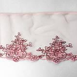 Ажурное кружево вышивка на сетке: розовая, коричневая нить по розовой сетке, ширина 12 см, фото 3