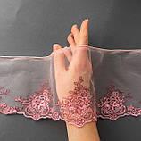 Ажурное кружево вышивка на сетке: розовая, коричневая нить по розовой сетке, ширина 12 см, фото 2