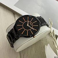 Женские наручные часы в стиле Радо True Thinline с керамическим браслетом Черные с золотым