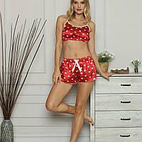 Шовкова піжама топ з шортами Pijamania, фото 1