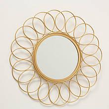 Зеркало солнце Цветок металл золото d37см Гранд Презент 1017263-1 круг