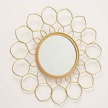 Зеркало солнце Цветок металл золото d37см Гранд Презент 1017263-2 узор