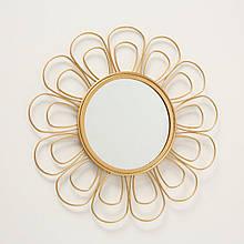 Зеркало солнце Цветок металл золото d37см Гранд Презент 1017263-3 лепесток