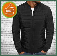 Короткая куртка мужская демисезонная черная, бомбер без капюшона, ветровка осень весна