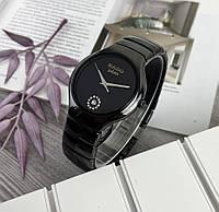 Женские наручные часы в стиле Радо с керамическим браслетом Черные с серебром