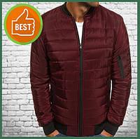 Короткая куртка мужская демисезонная бордо, бомбер без капюшона, ветровка осень весна