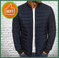 Короткая куртка мужская демисезонная синяя, бомбер без капюшона, ветровка осень весна
