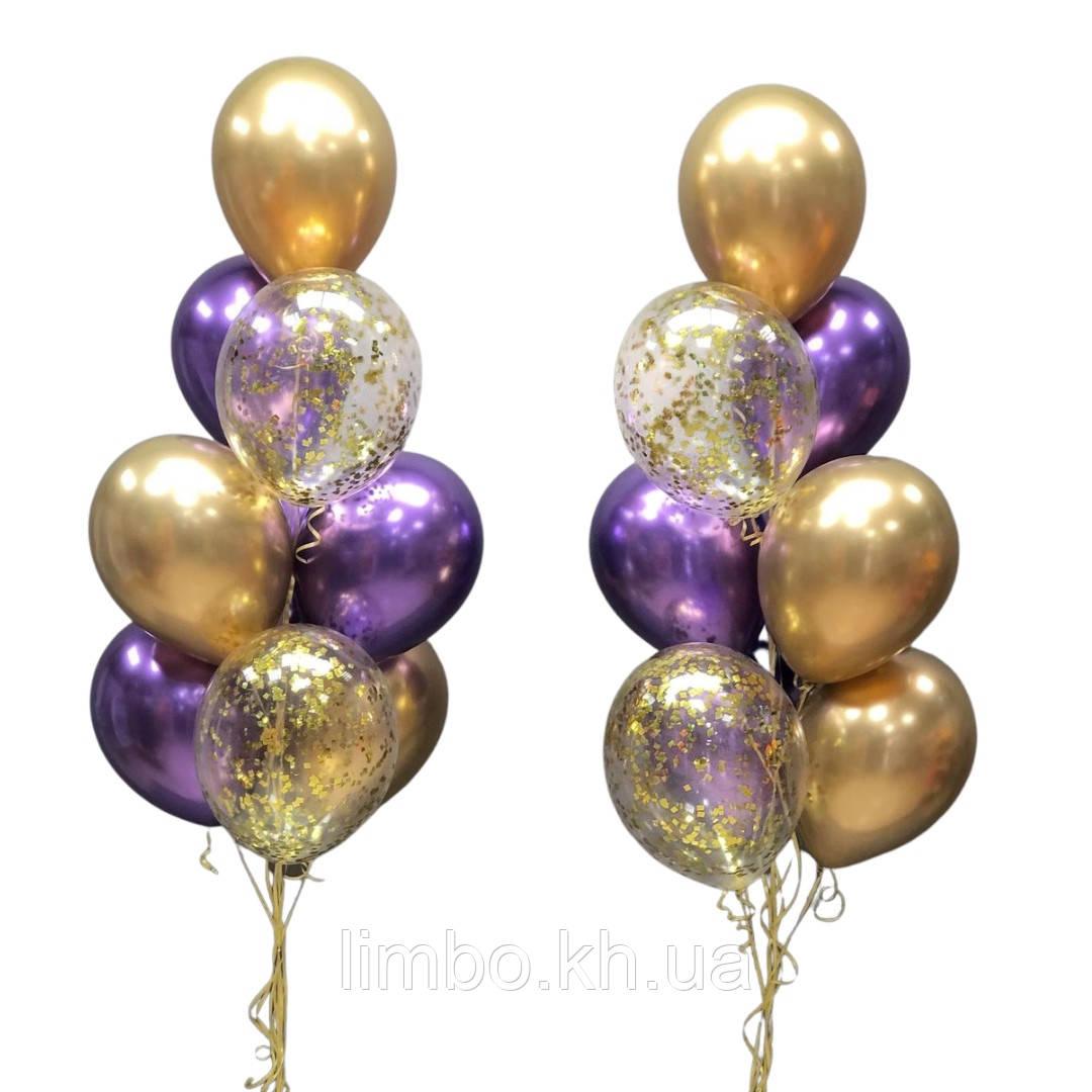 Гелієві кулі на день народження з кулями хром і конфетті