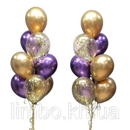 Гелієві кулі на день народження з кулями хром і конфетті, фото 2