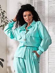 Женский костюм лен рубашка+брюки свободная модель