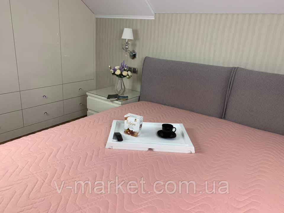 Однотонное розовое летнее одеяло покрывало полуторка, 145/205