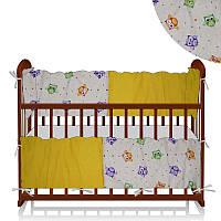 """Защитный борт на кроватку ТМ Беби-Текс """"Совы и кружочки"""" (ЗД-4 34928) Желтый"""
