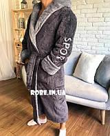 Мужской махровый серый(SPORT) халат Romance с двумя глубокими карманами и капюшоном Турция