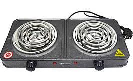 Плита настольная электрическая 2-х конфорочная Domotec 2 по 1000 Ватт  для кухни, дачи, дома
