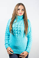 Свитер женский с горлом голубой р.48-50