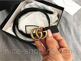 Ремінь GG шкіряний вузький, 2 см, чорний з золотою матовою пряжкою, в коробці
