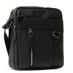 Стильная маленькая мужская кожаная сумка планшет черная на плечо 18х21х8см Dr. Bond 6619