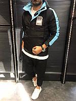 Мужская куртка ветровка с капюшоном, черный анорак, курточка без молнии