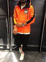 Мужская куртка ветровка с капюшоном, оранжевый анорак, курточка без молнии