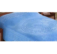 Покрывало махровое на кровать евро размера VERSACE - голубое