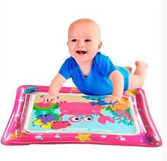 Детский развивающий надувной водный коврик-аквариум (розовый)