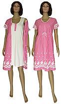 Комплект женский домашний, ночная рубашка и халат 18029 Fashion Patterns коттон Молочно-малиновый