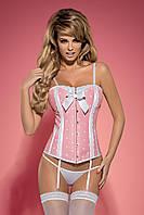 Эротический корсет розового цвета Obsessive Dottie, фото 1