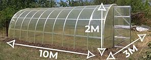 Теплица «Омега» 3х10  усиленная из оцинкованного омега профиля с пленкой 150 мкм