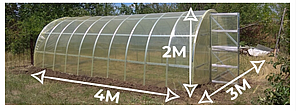 Теплица «Омега» 3х4  усиленная из оцинкованного омега профиля с пленкой 150 мкм