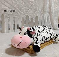 Детская плюшевая игрушка подушка с пледом внутри 3-в-1, Коровка