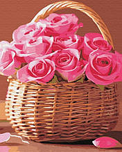 Картина по Номерам Корзинка розовых роз 40х50см RainbowArt