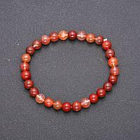 Браслет из натурального камня Красный Рутиловый Кварц на резинке гладкий шарик d-6(+-)мм обхват 18см