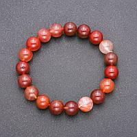 Браслет из натурального камня Красный Рутиловый Кварц на резинке гладкий шарик d-10(+-)мм обхват 18см