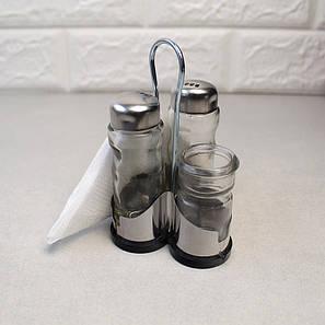 Набір для спецій перець + сіль+підставка для серветок+зубочистка на нержавіючій підставці HLS (6075), фото 2
