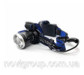 Налобний Ліхтарик Bailong BL T24 - P50 3 реж., Zoom, корпус-пластик, водостійкий, ударостійкий, 18650